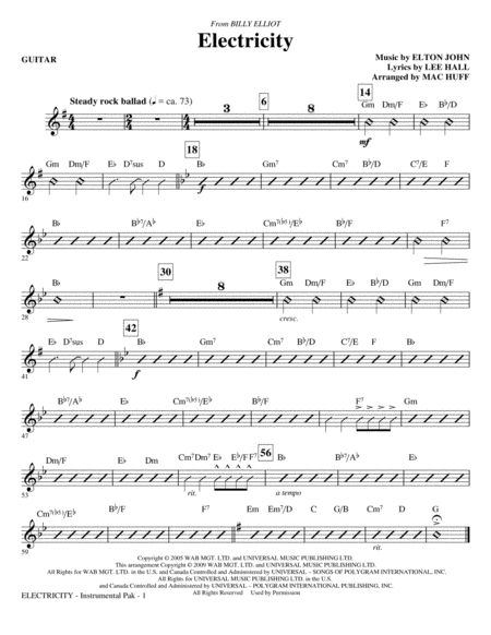 Electricity (from Billy Elliot) - Guitar