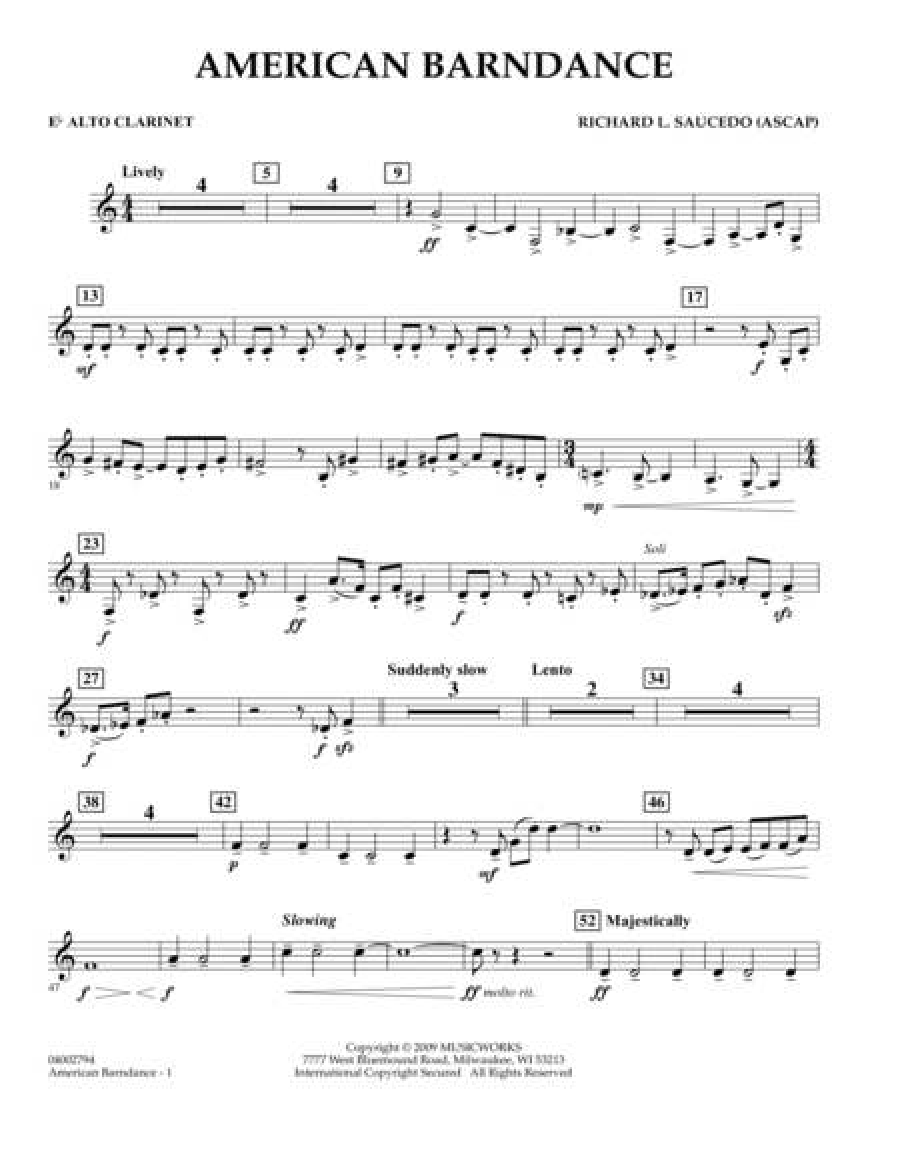 American Barndance - Eb Alto Clarinet