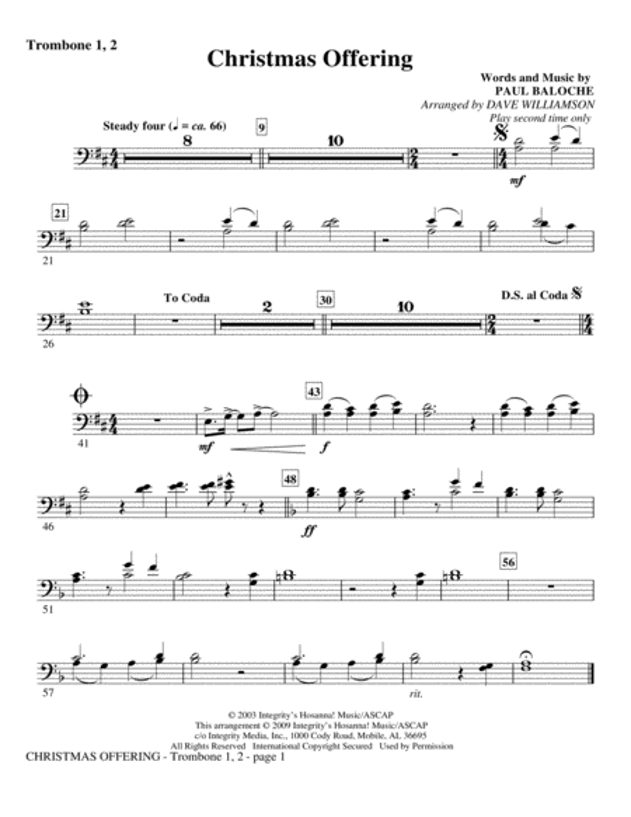 Christmas Offering - Trombone 1 & 2