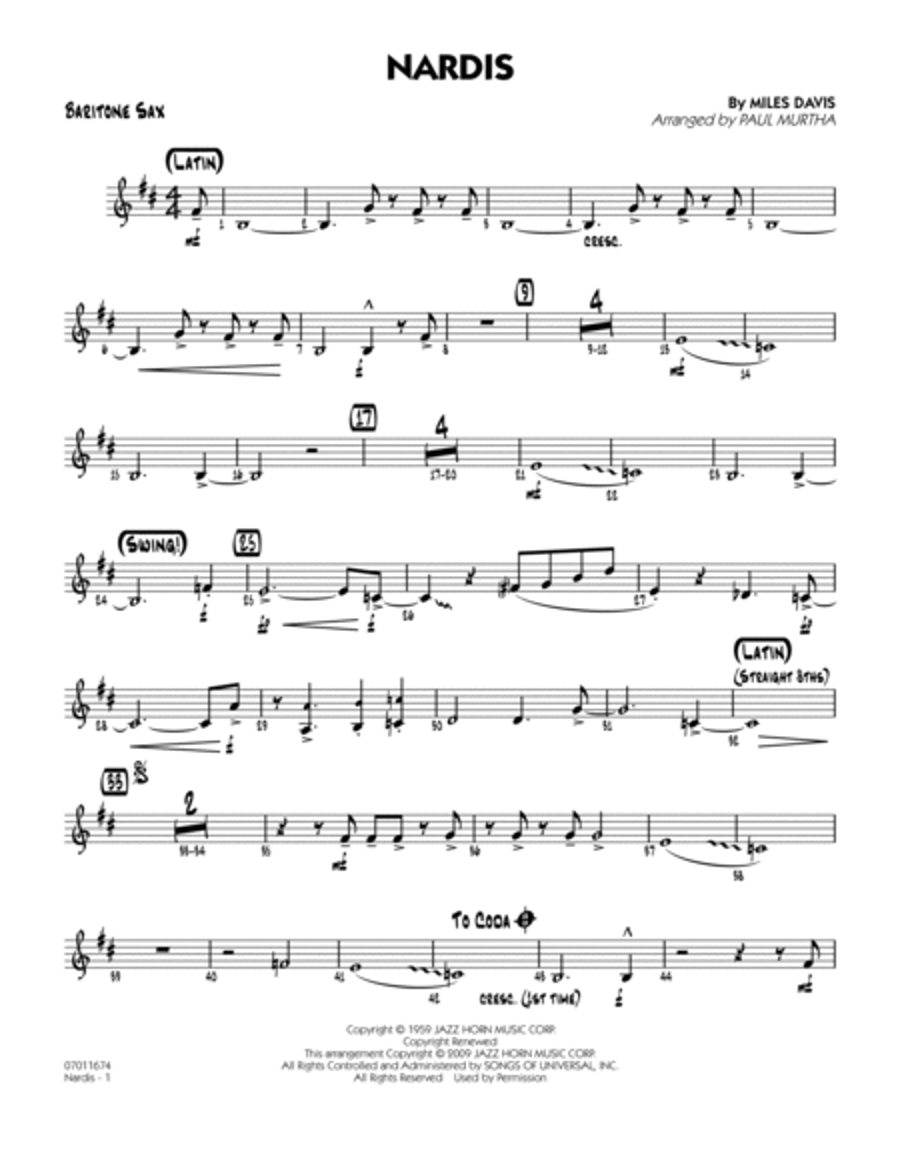 Nardis - Baritone Sax