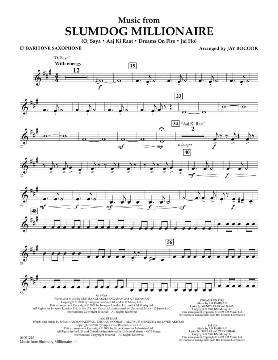 Music from Slumdog Millionaire - Eb Baritone Saxophone