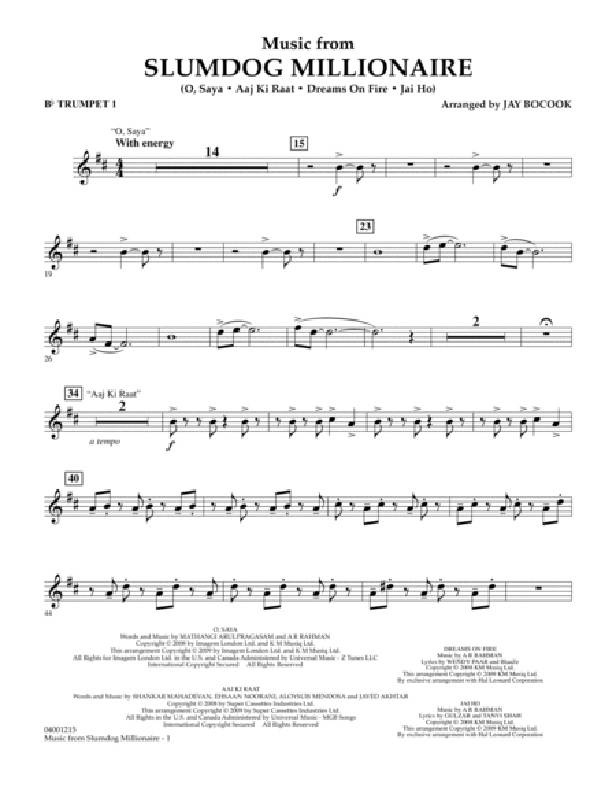 Music from Slumdog Millionaire - Bb Trumpet 1