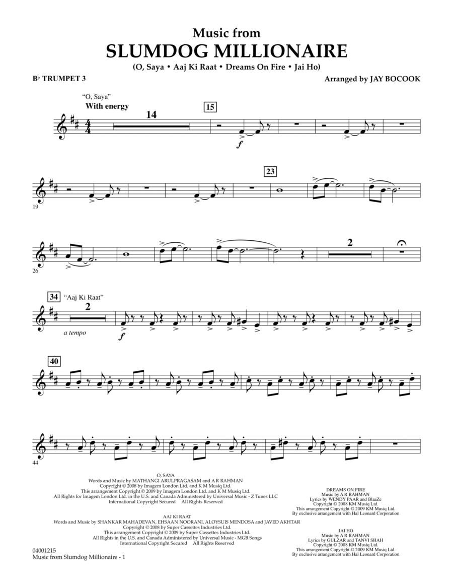 Music from Slumdog Millionaire - Bb Trumpet 3