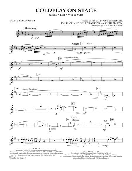Coldplay on Stage - Eb Alto Saxophone 2