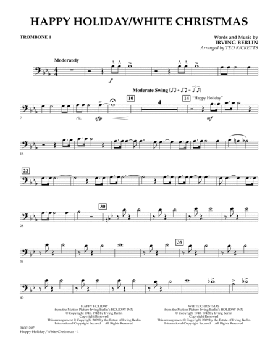 Happy Holiday/White Christmas - Trombone 1