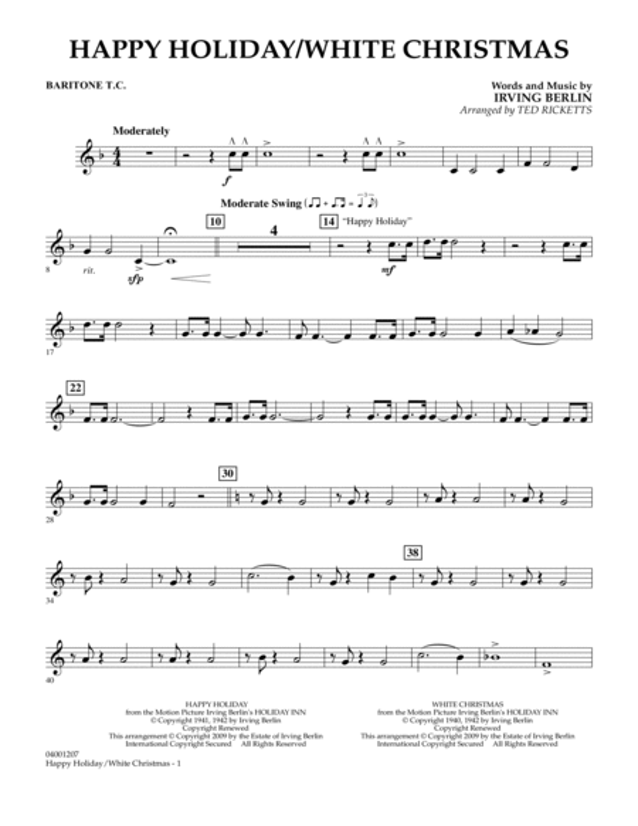 Happy Holiday/White Christmas - Baritone T.C.
