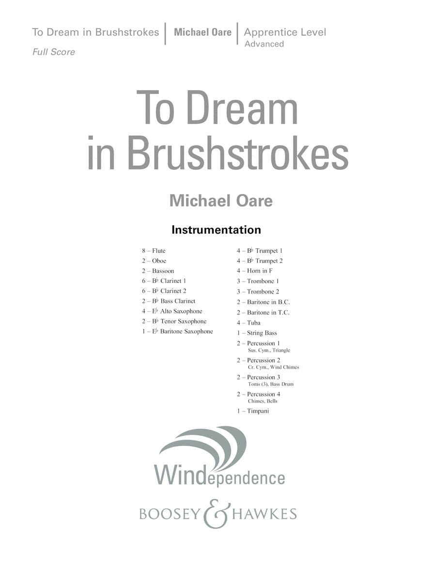 To Dream in Brushstrokes - Conductor Score (Full Score)