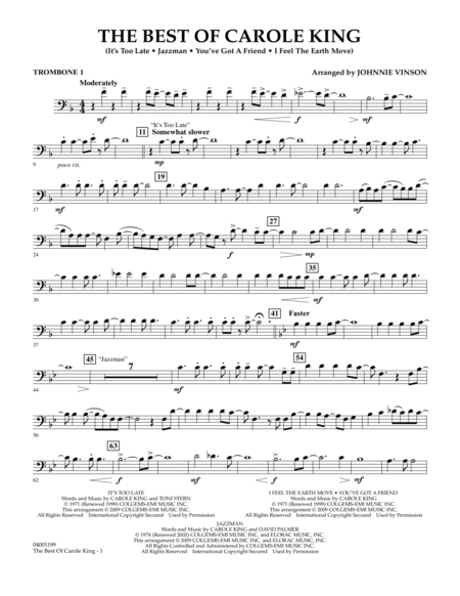 The Best of Carole King - Trombone 1