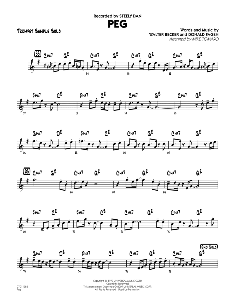 Download Peg - Trumpet Sample Solo Sheet Music By Steely Dan ...
