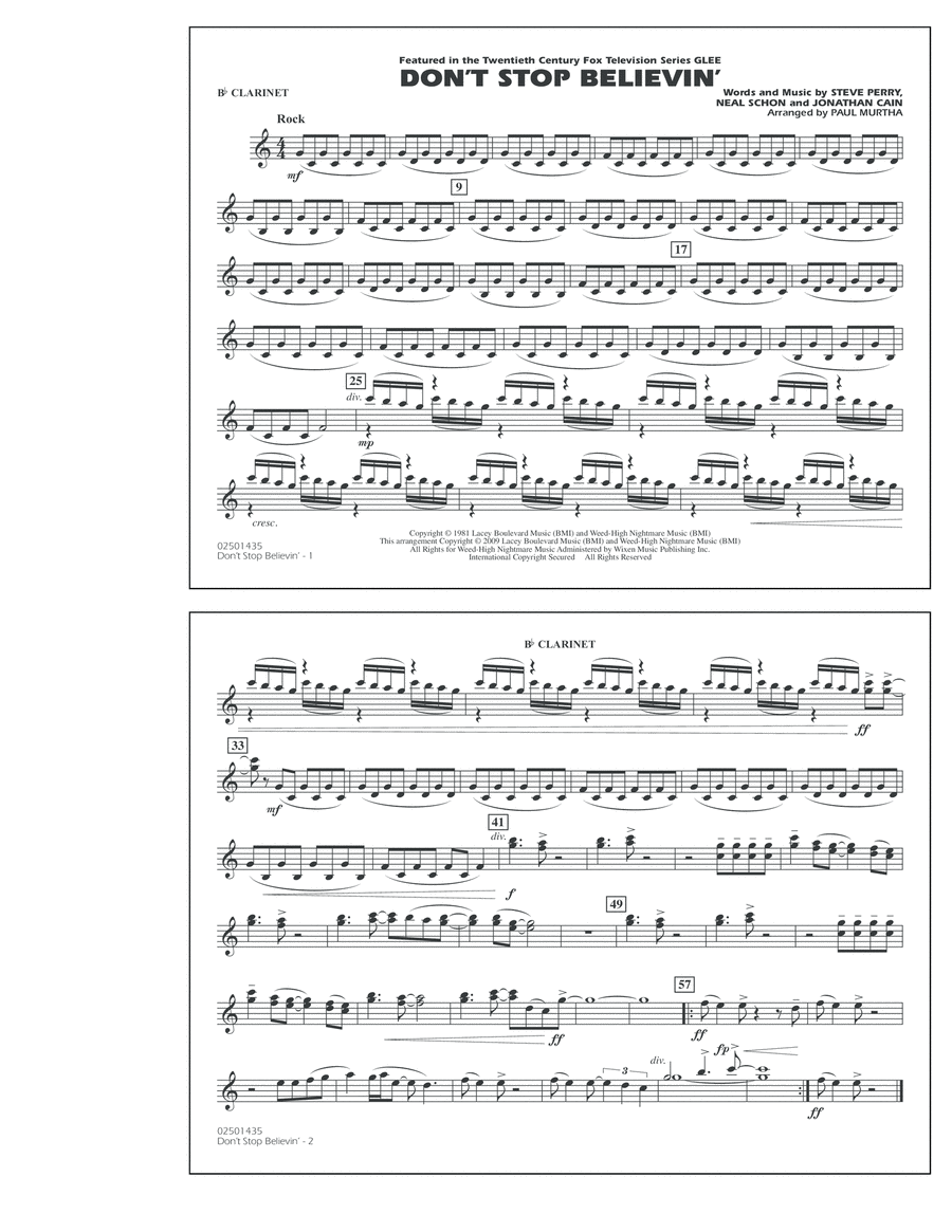 Don't Stop Believin' - Bb Clarinet