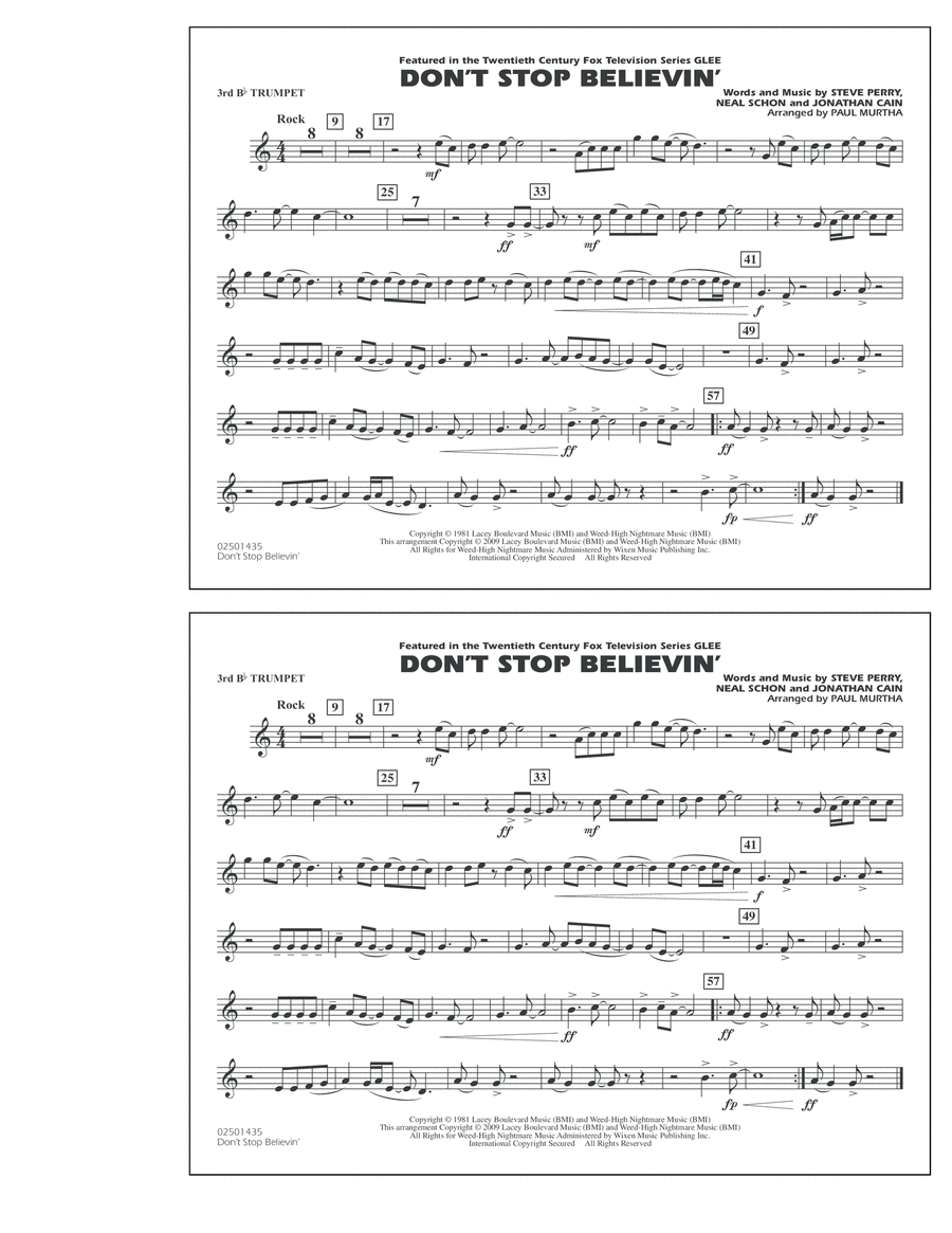 Don't Stop Believin' - 3rd Bb Trumpet