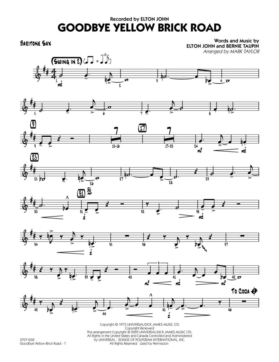 Goodbye Yellow Brick Road - Baritone Sax