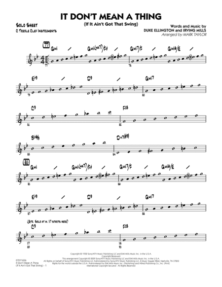 It Don't Mean a Thing (If It Ain't Got That Swing) - C Solo Sheet