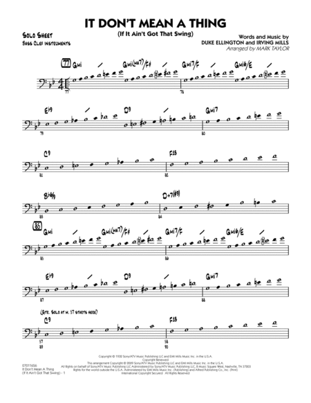 It Don't Mean a Thing (If It Ain't Got That Swing) - Bass Clef Solo Sheet