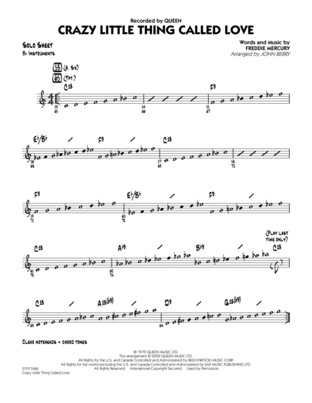 Crazy Little Thing Called Love - Bb Solo Sheet