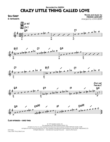 Crazy Little Thing Called Love - Eb Solo Sheet