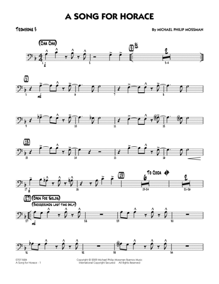 A Song for Horace - Trombone 3