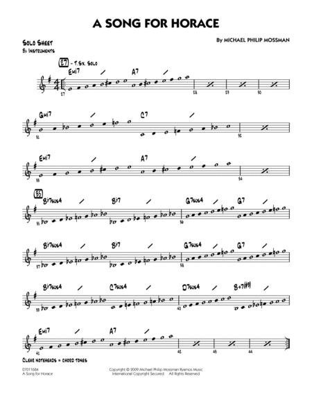 A Song for Horace - Bb Solo Sheet