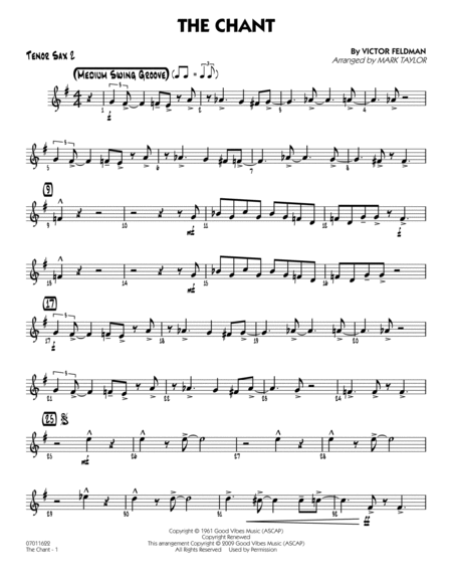 The Chant - Tenor Sax 2
