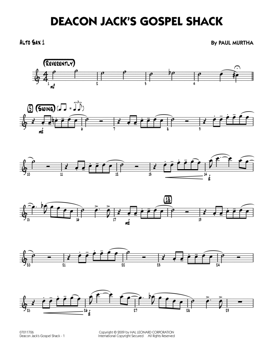 Deacon Jack's Gospel Shack - Alto Sax 1