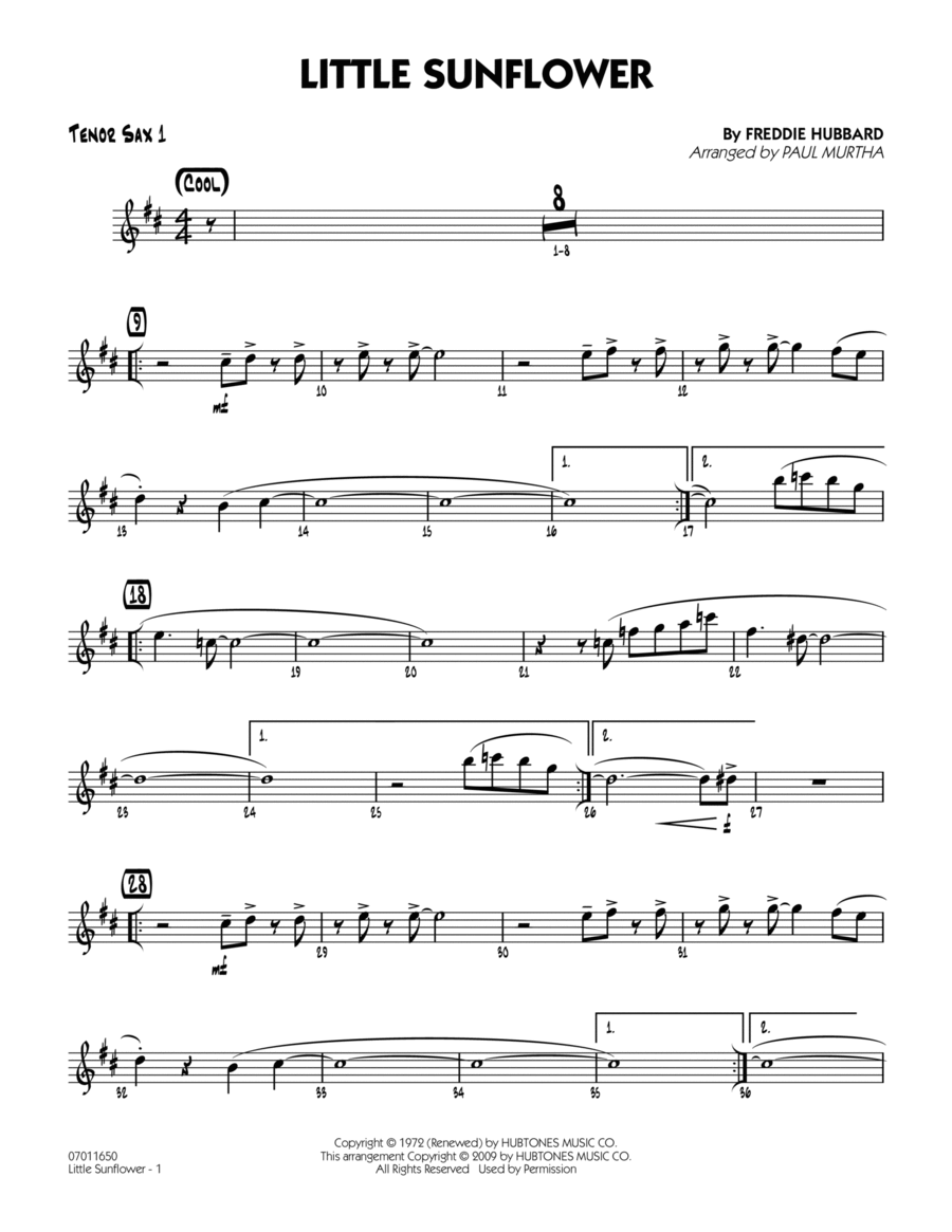 Little Sunflower - Tenor Sax 1