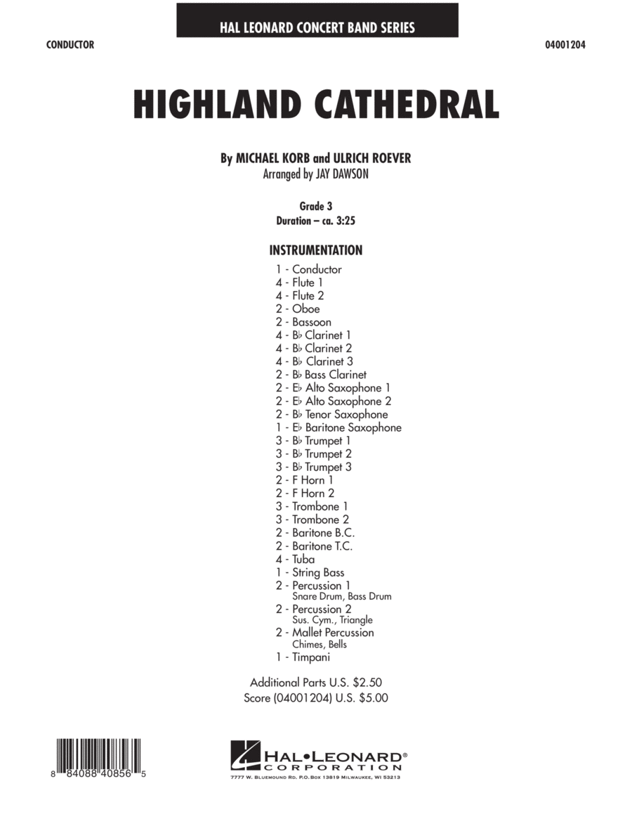 Highland Cathedral - Conductor Score (Full Score)