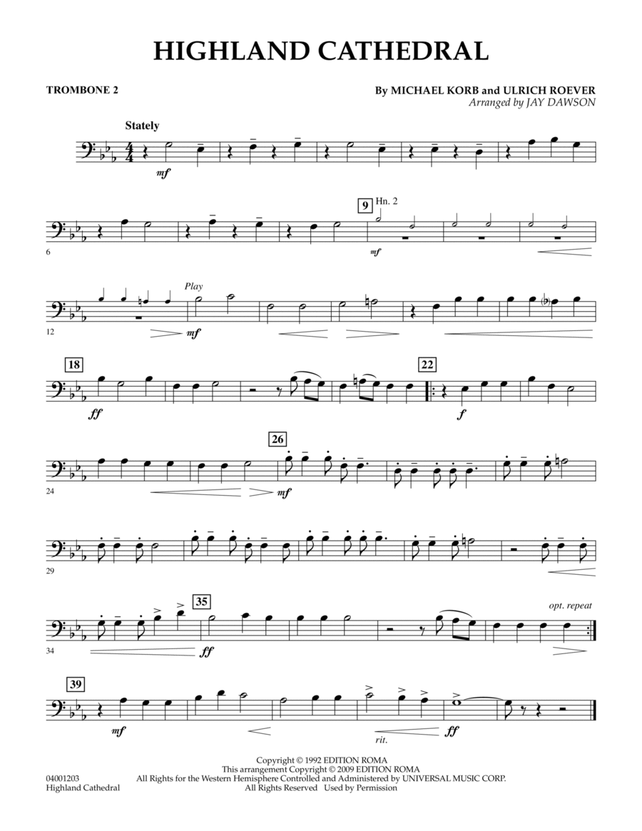 Highland Cathedral - Trombone 2