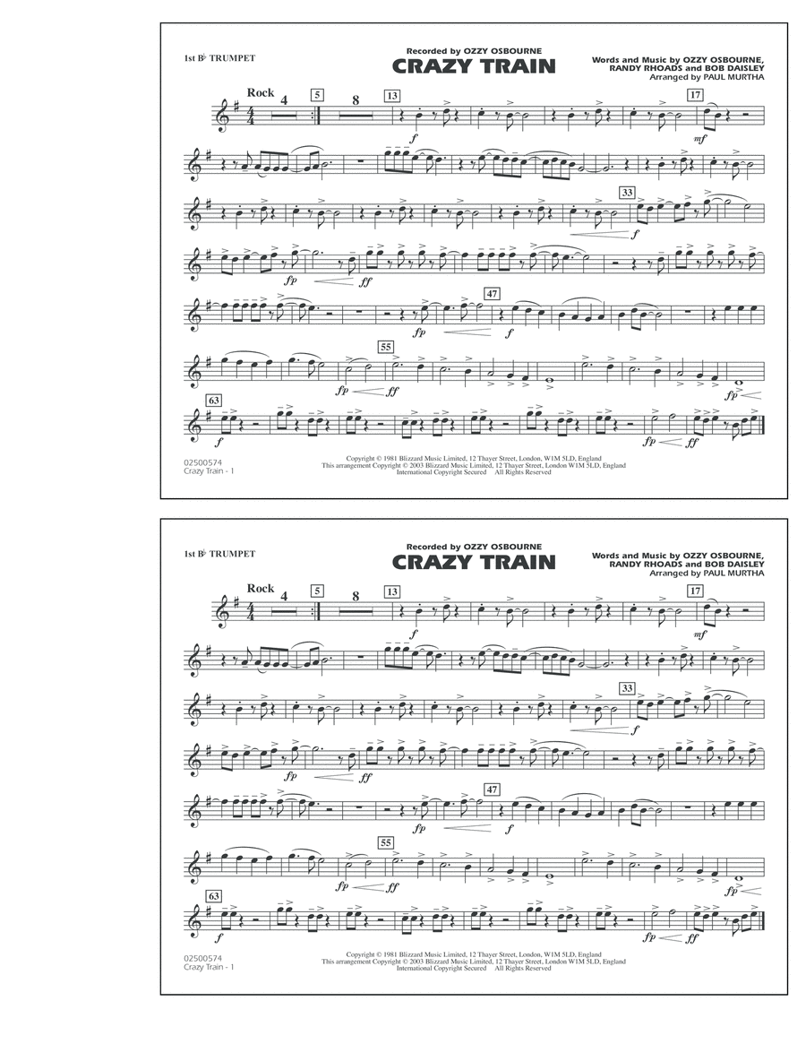 Crazy Train - 1st Bb Trumpet