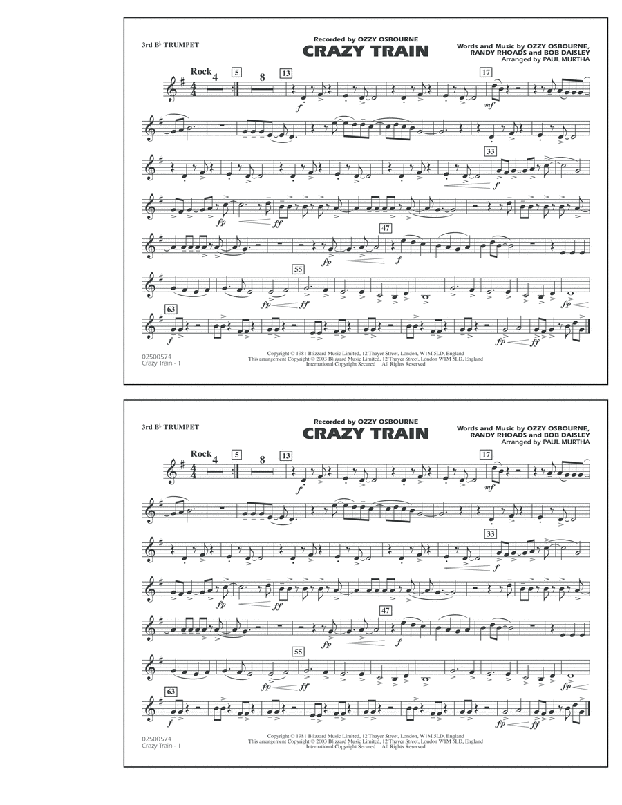 Crazy Train - 3rd Bb Trumpet