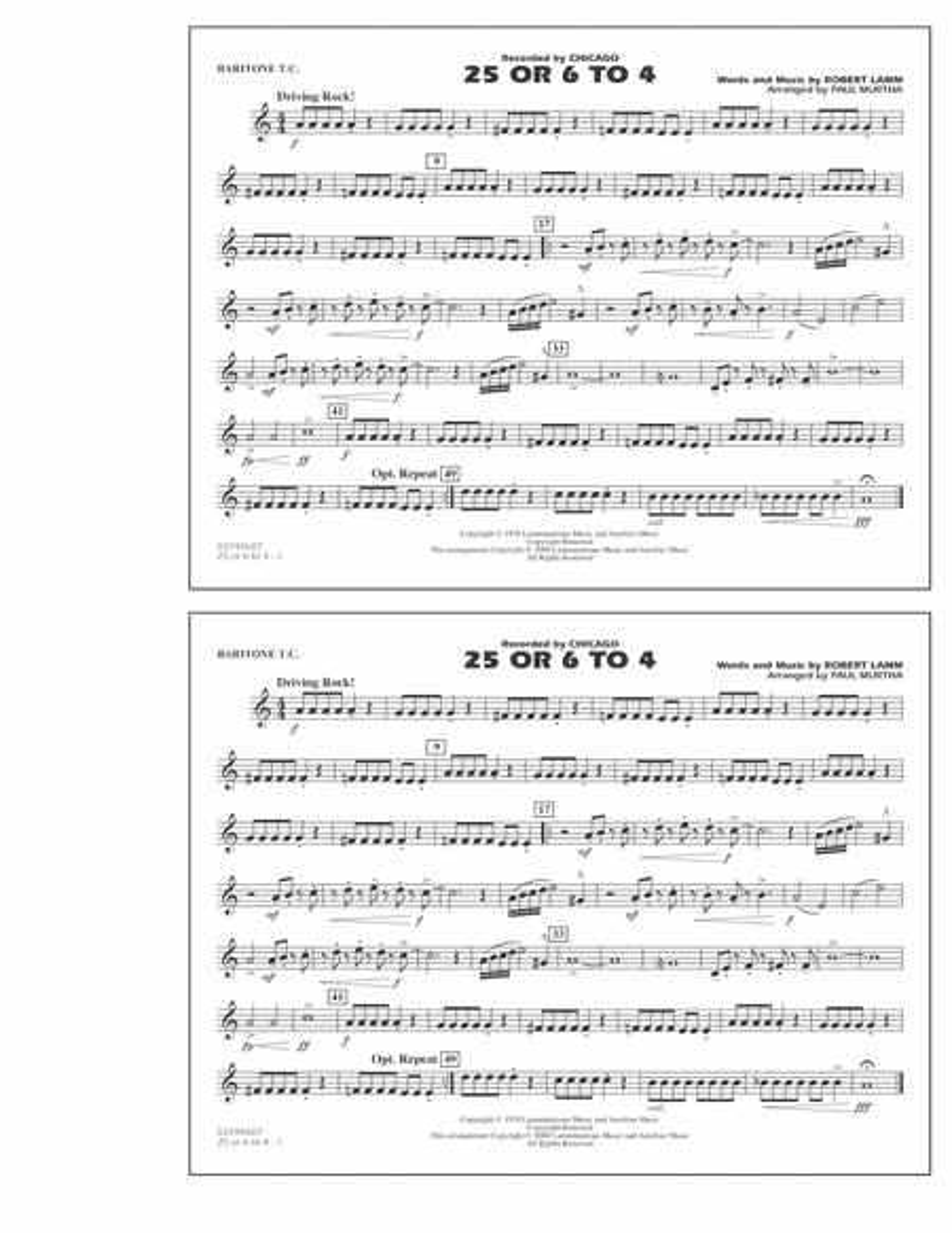 25 Or 6 To 4 - Baritone T.C.
