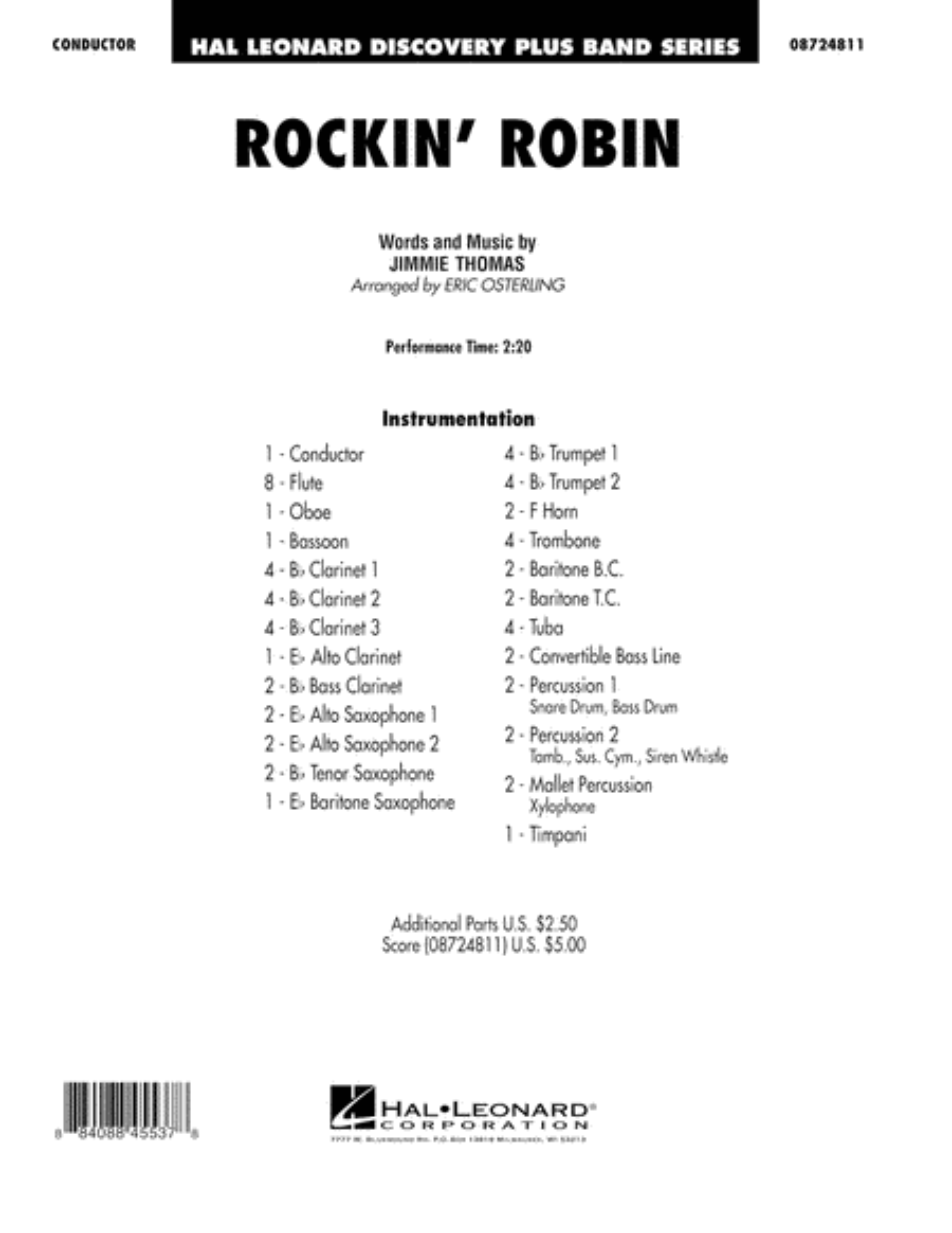Rockin' Robin - Conductor Score (Full Score)