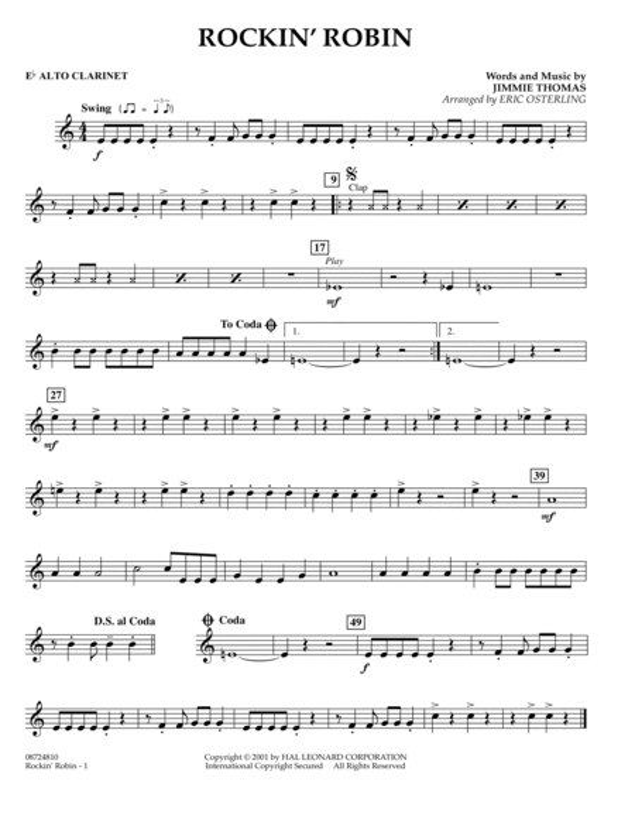 Rockin' Robin - Eb Alto Clarinet