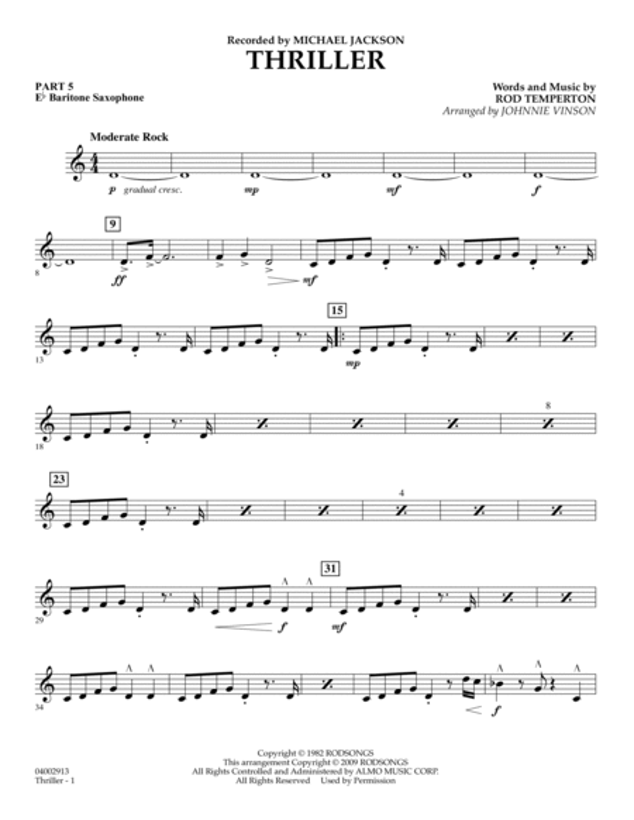 Thriller - Pt.5 - Eb Baritone Saxophone