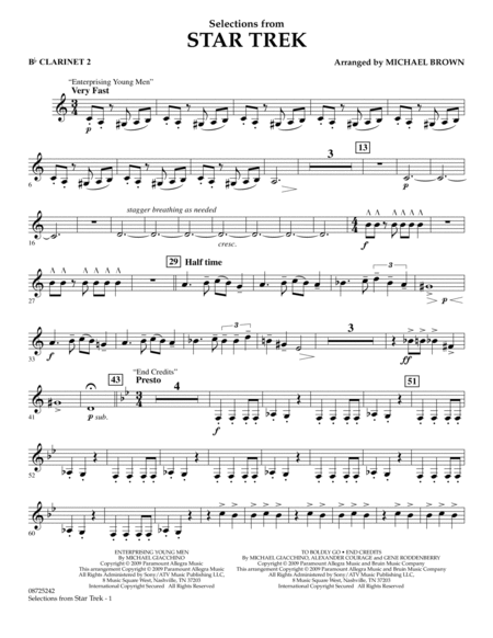 Selections from Star Trek - Bb Clarinet 2