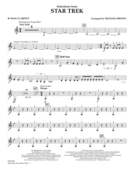 Selections from Star Trek - Bb Bass Clarinet