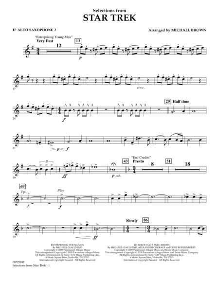 Selections from Star Trek - Eb Alto Saxophone 2