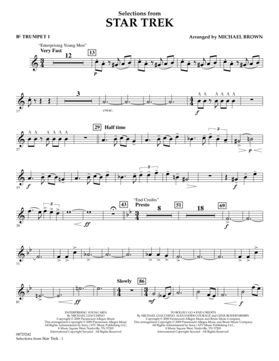 Selections from Star Trek - Bb Trumpet 1