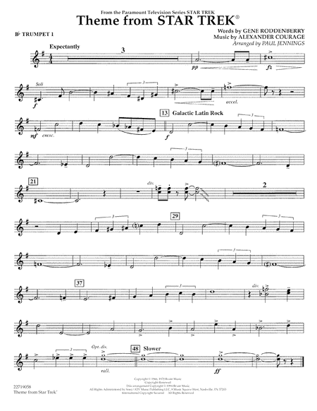 Theme from Star Trek (TV Series) - Bb Trumpet 1