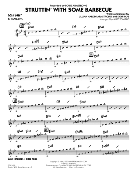 Struttin' with Some Barbecue - Bb Solo Sheet