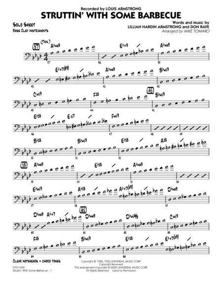 Struttin' with Some Barbecue - Bass Clef Solo Sheet