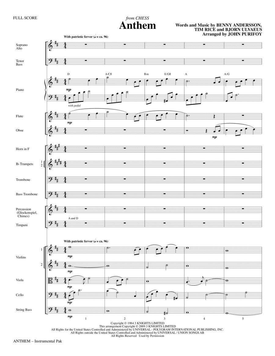 Anthem (from Chess) - Full Score