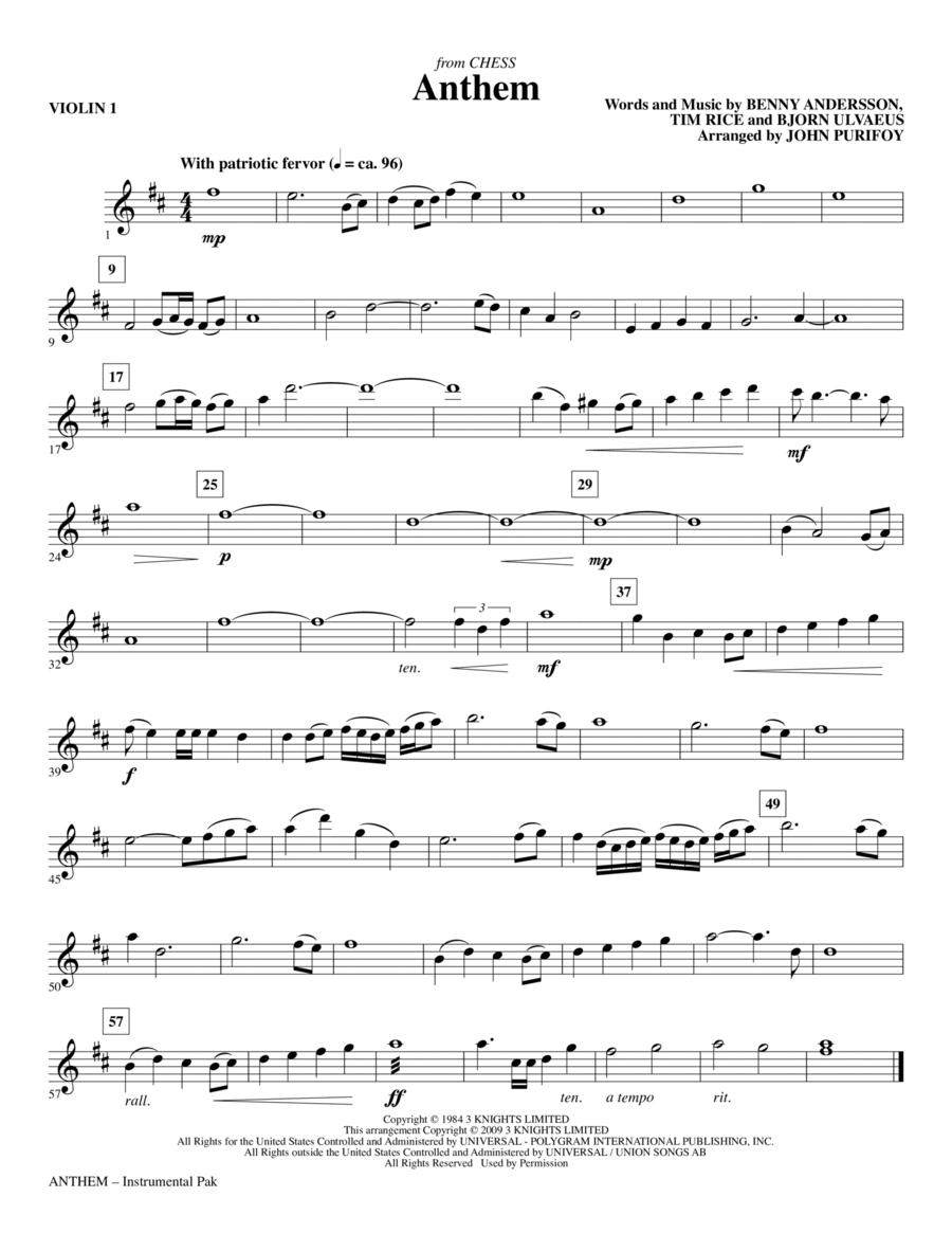 Anthem (from Chess) - Violin 1