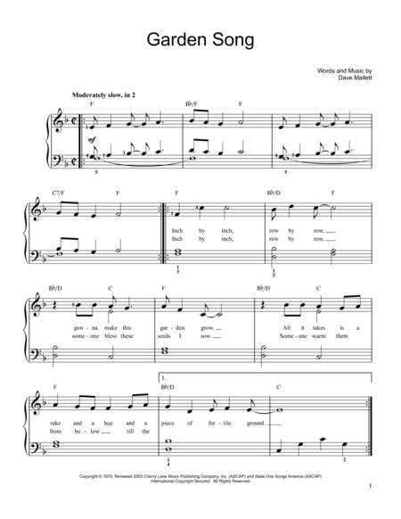 Download Garden Song Sheet Music By John Denver Sheet Music Plus