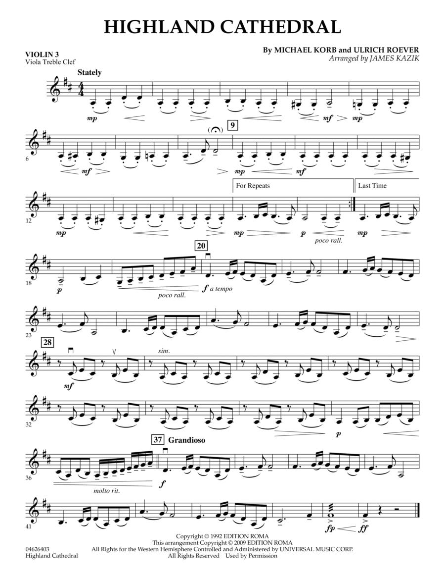 Highland Cathedral - Violin 3 (Viola Treble Clef)