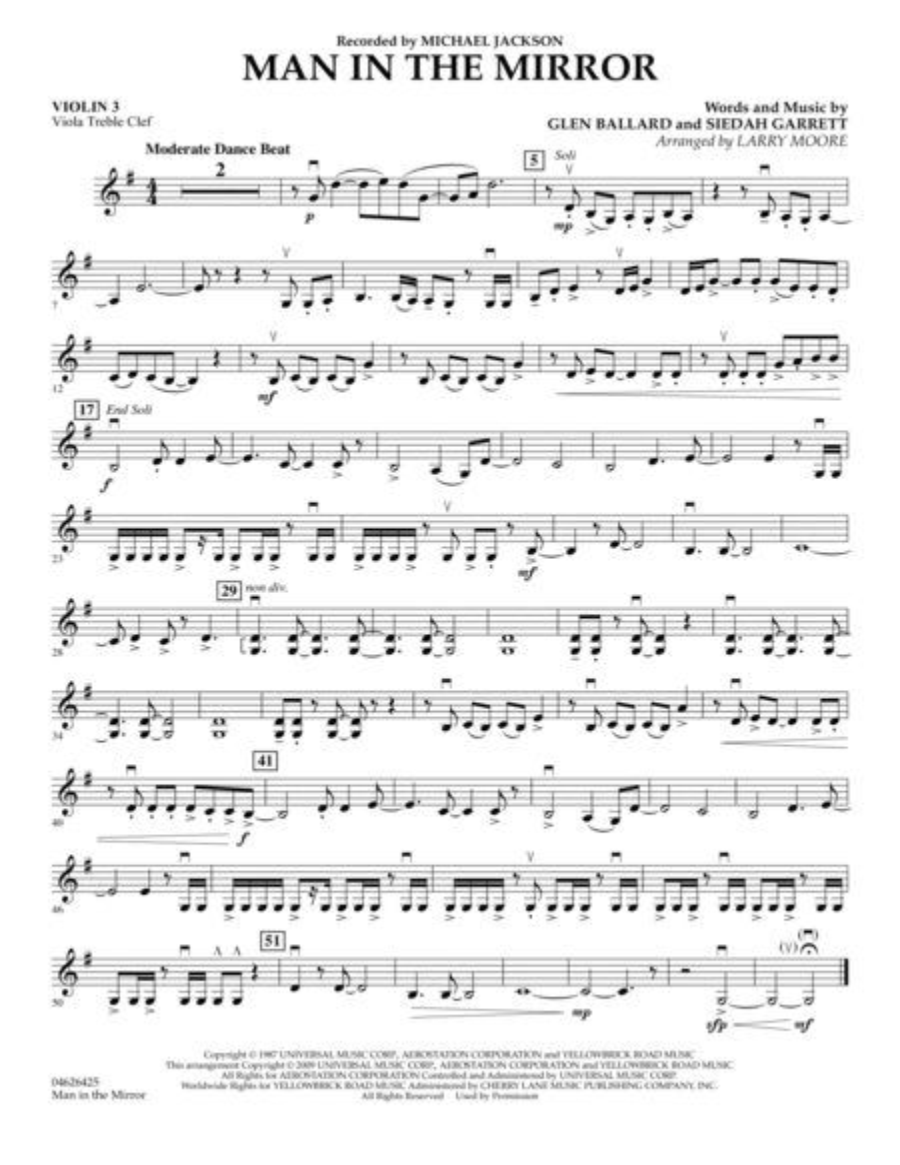 Man in the Mirror - Violin 3 (Viola Treble Clef)