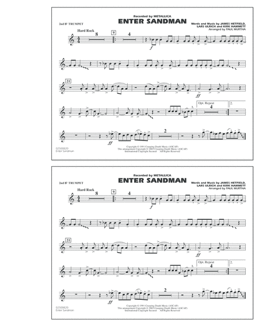 Enter Sandman - 2nd Bb Trumpet
