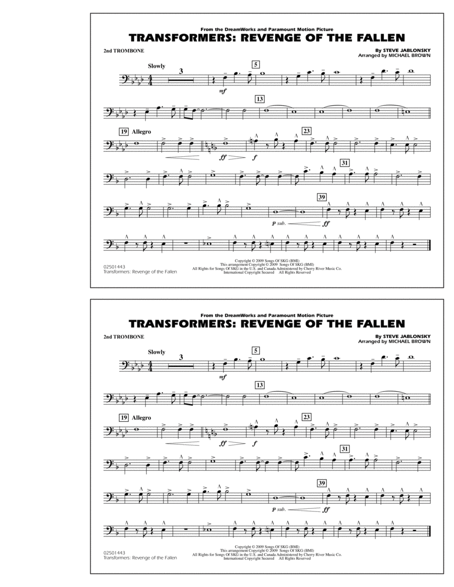Transformers: Revenge Of The Fallen - 2nd Trombone