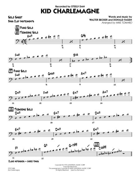 Kid Charlemagne - Bass Clef Solo Sheet
