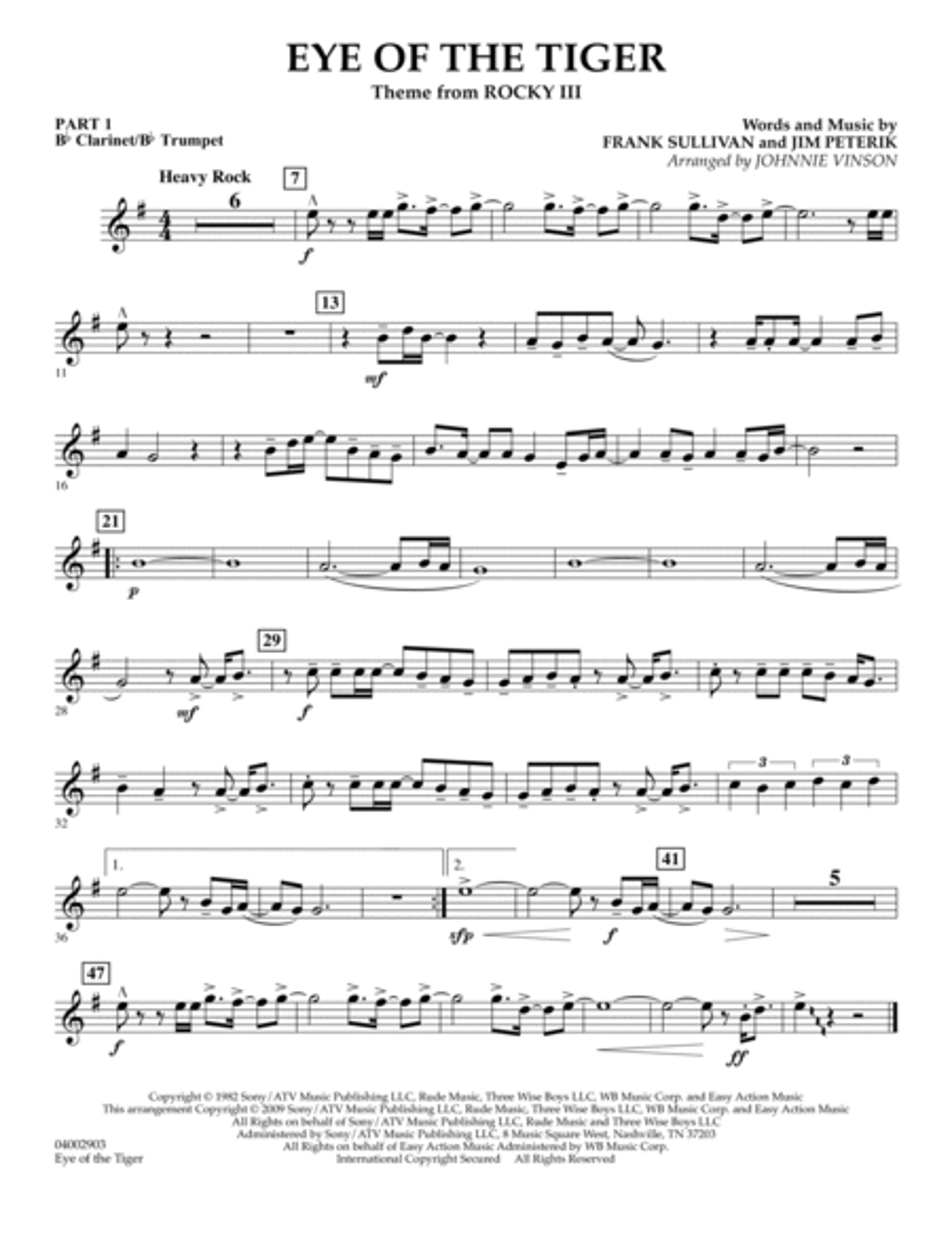 Eye Of The Tiger - Pt.1 - Bb Clarinet/Bb Trumpet