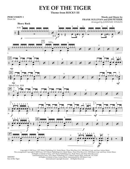 Eye Of The Tiger - Percussion 1
